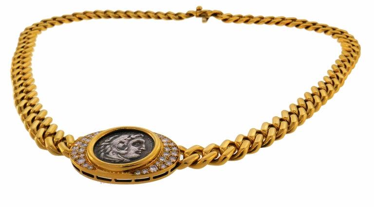 Bulgari Ancient Coin Yellow Gold Chain Necklace with Diamond Bvlgari 1