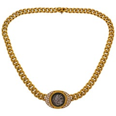 Bulgari Ancient Coin Yellow Gold Chain Necklace with Diamond Bvlgari