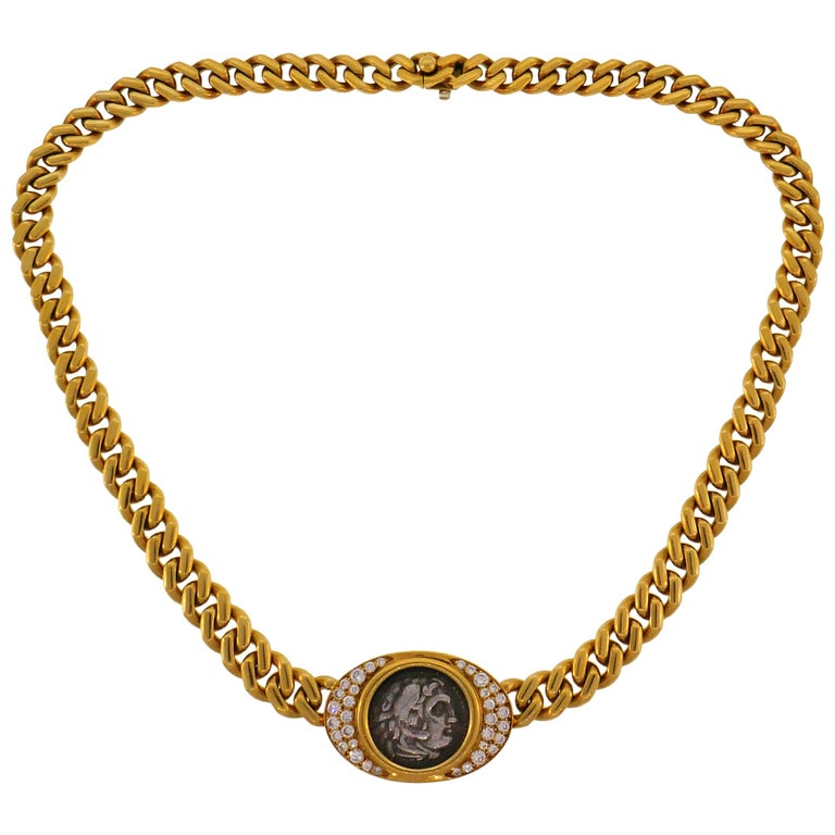 Bulgari Ancient Coin Yellow Gold Chain Necklace with Diamond Bvlgari