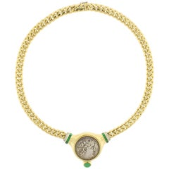 Bulgari Ancient Phoenicia Coin, Emerald and Diamond Necklace