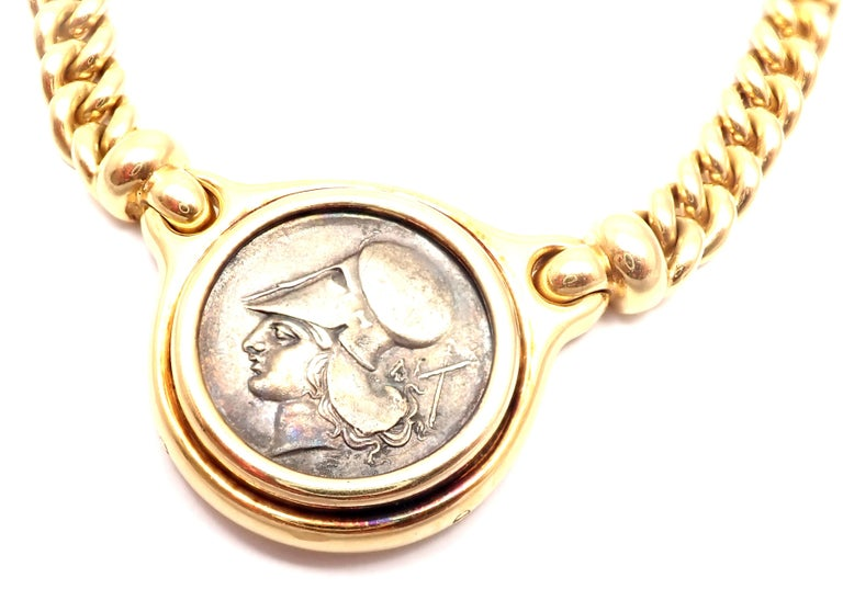 18k yellow gold ancient silver coin, link chain necklace by Bulgari. Measurements:  Length: 15.5