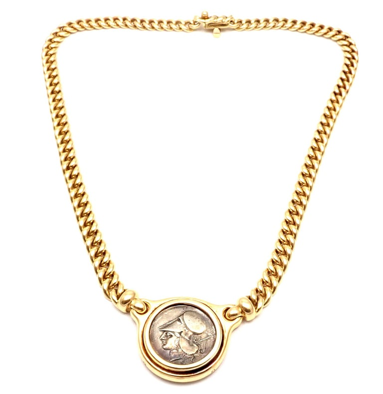 Bulgari Ancient Silver Coin Yellow Gold Link Necklace In Excellent Condition For Sale In Holland, PA