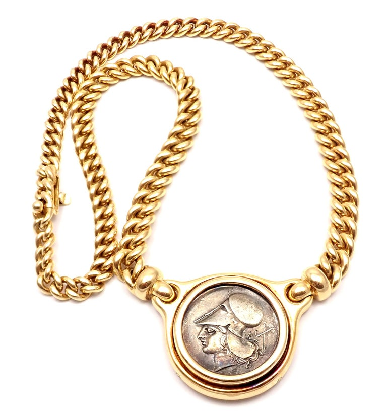 Women's or Men's Bulgari Ancient Silver Coin Yellow Gold Link Necklace For Sale
