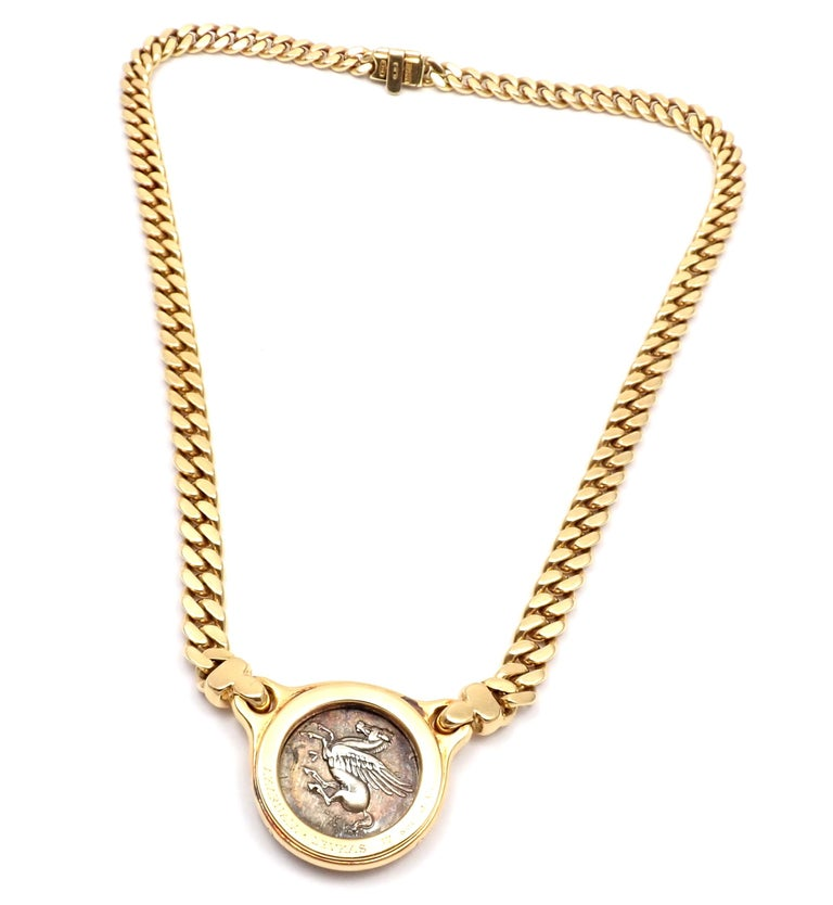 Bulgari Ancient Silver Coin Yellow Gold Link Necklace For Sale 1