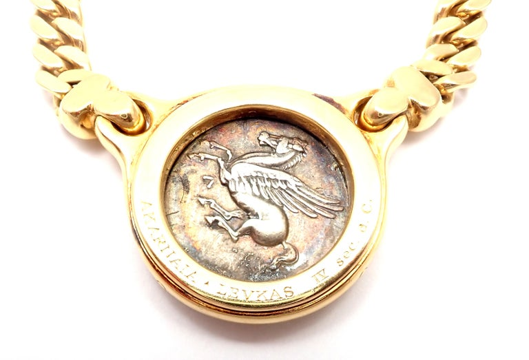 Bulgari Ancient Silver Coin Yellow Gold Link Necklace For Sale 2