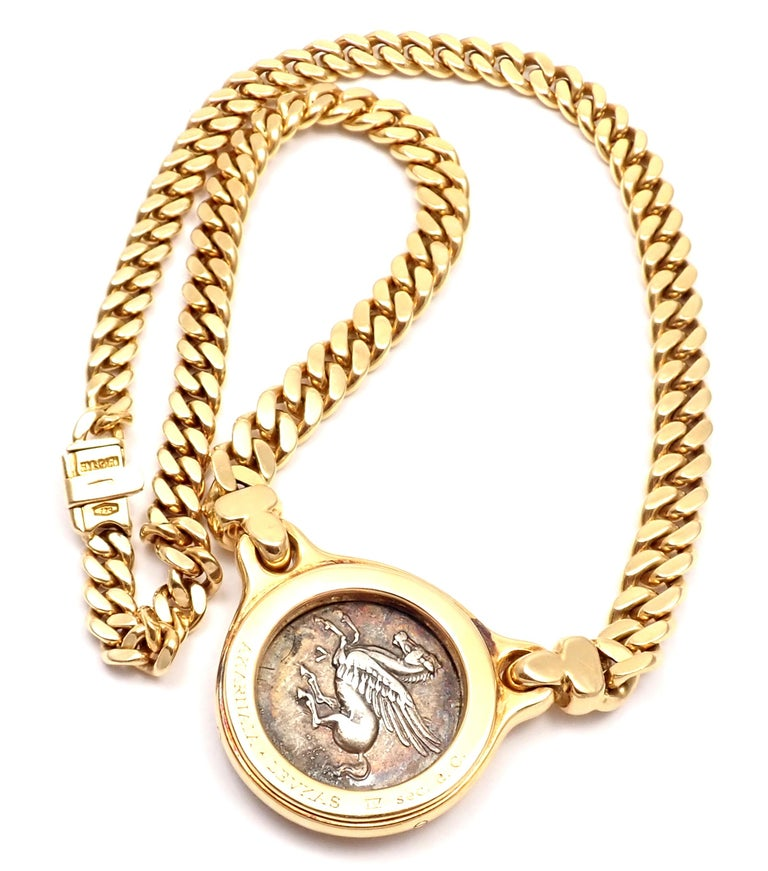 Bulgari Ancient Silver Coin Yellow Gold Link Necklace For Sale 5