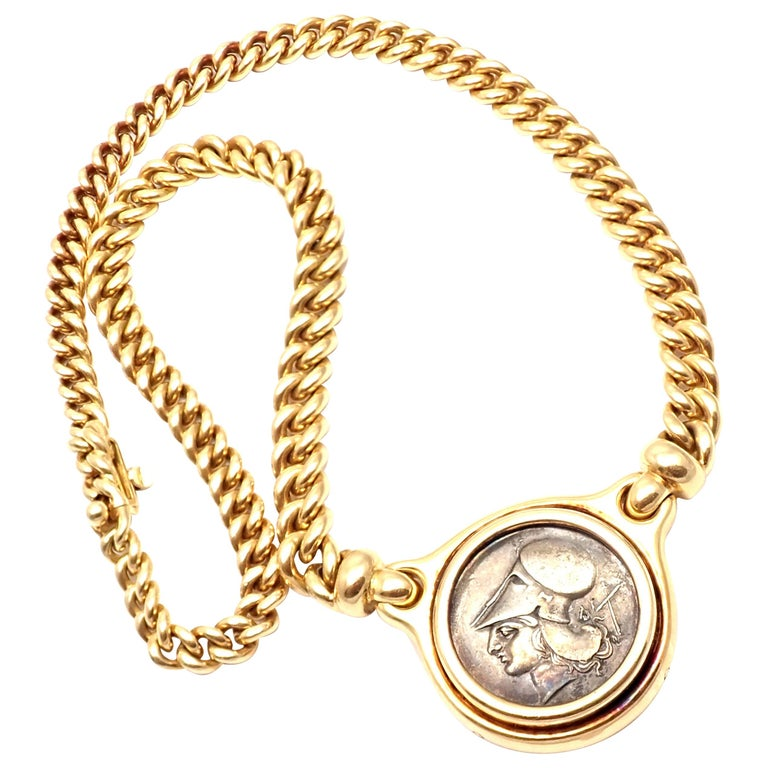 Bulgari Ancient Silver Coin Yellow Gold Link Necklace For Sale