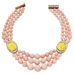 Bulgari Angel Skin Coral, Diamond, and Gold Coin Necklace