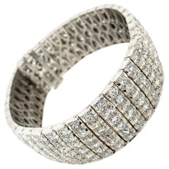 Bulgari Art Deco 30 Carat Diamond Engraved Platinum Tennis Bracelet