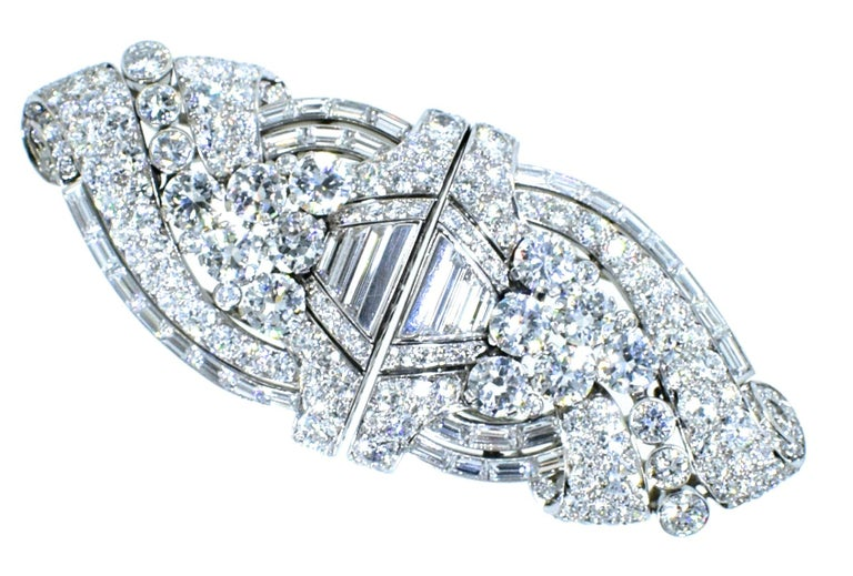 Bulgari Diamond Art Deco double clip brooch possessing 15 cts. of very fine diamonds - all colorless to near colorless (F/G) and very very slightly to very slightly included.  Well made, wonderful design, timeless and classic, these clips are signed