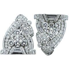 Bulgari Art Deco Diamond Clips or Brooch, circa 1935