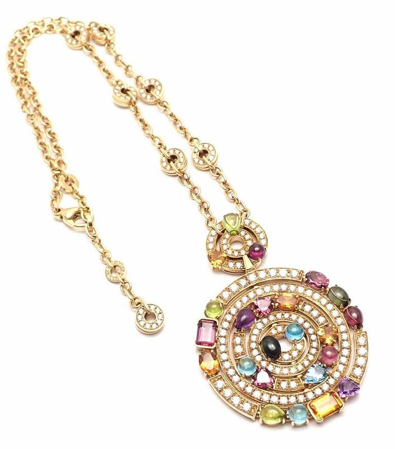 Bulgari Astrale Diamond Color Stone Yellow Gold Large Pendant Necklace For Sale 5