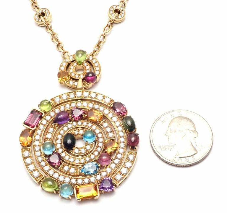 Bulgari Astrale Diamond Color Stone Yellow Gold Large Pendant Necklace For Sale 6