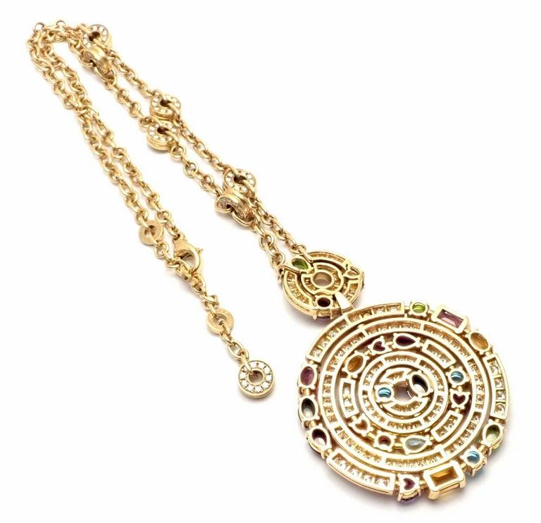Bulgari Astrale Diamond Color Stone Yellow Gold Large Pendant Necklace For Sale 7