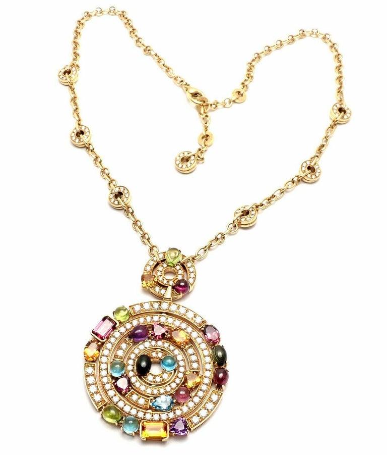 Brilliant Cut Bulgari Astrale Diamond Color Stone Yellow Gold Large Pendant Necklace For Sale