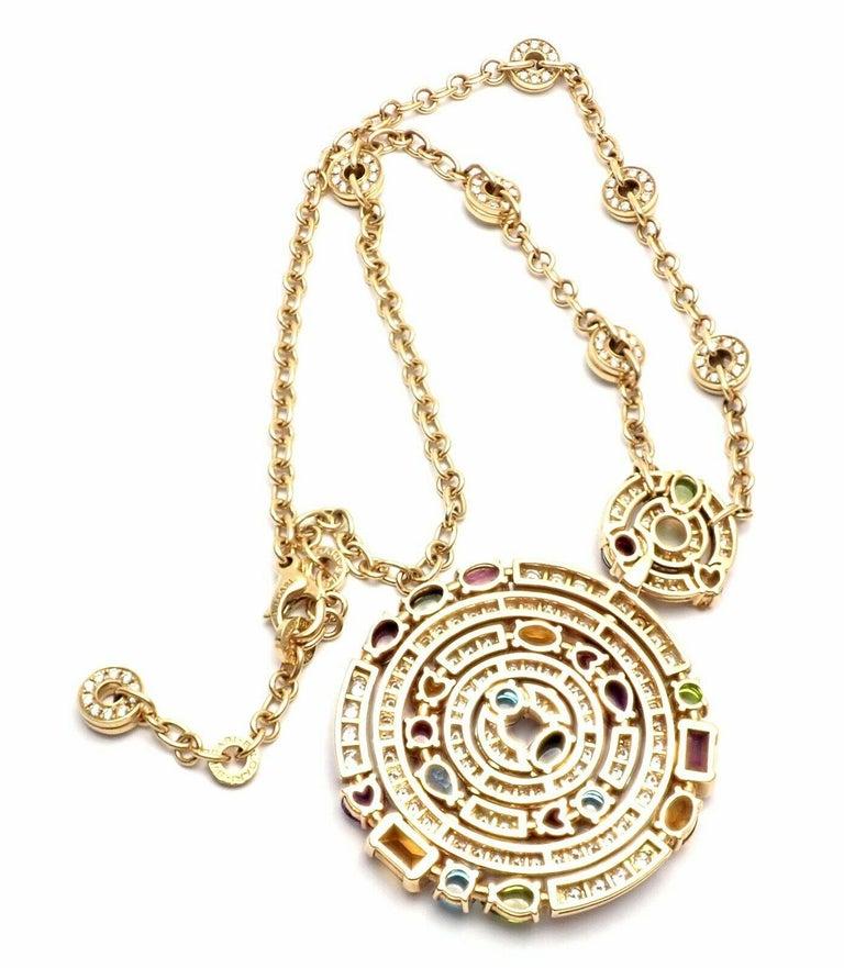 Bulgari Astrale Diamond Color Stone Yellow Gold Large Pendant Necklace For Sale 4