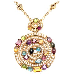 Bulgari Astrale Diamond Color Stone Yellow Gold Large Pendant Necklace