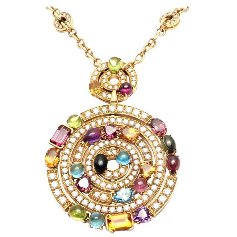 Bulgari Astrale Diamond Color Stone Yellow Gold Large Pendant Necklace For Sale