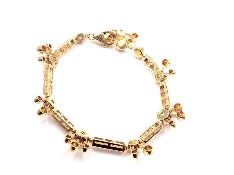 Women's or Men's Bulgari Astrale Diamond Link Yellow Gold Bracelet For Sale