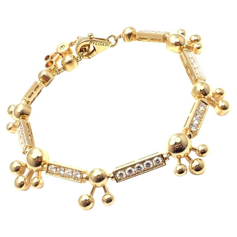 Bulgari Astrale Diamond Link Yellow Gold Bracelet For Sale