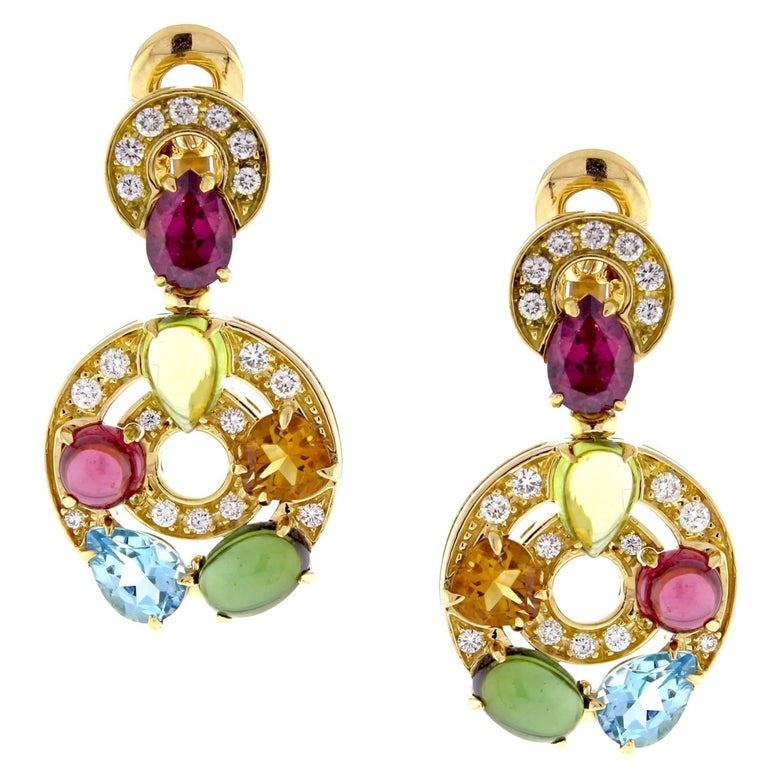 Bulgari Astrale Gem Set and Diamond Drop Earrings
