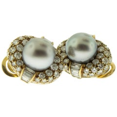 Bulgari Black Pearl Diamond 18 Karat Gold Ear Clips