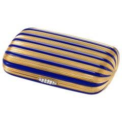 Bulgari Blue Enamel Striped Gold Compact