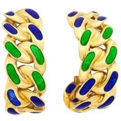 Bulgari Blue Green Enamel Gold Link Earrings