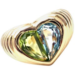 Bulgari Blue Topaz and Peridot Yellow Gold Heart Ring