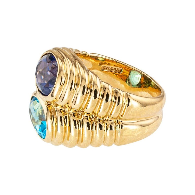 Bulgari Blue Topaz Iolite Yellow Gold Double Stone Ring In Good Condition In Los Angeles, CA