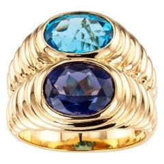 Bulgari Blue Topaz Iolite Yellow Gold Double Stone Ring