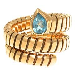Bulgari Blue Topaz Tubogas Serpenti Ring