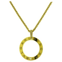 Bulgari Blvgari Open Circle Diamond Pendant Necklace in Yellow Gold