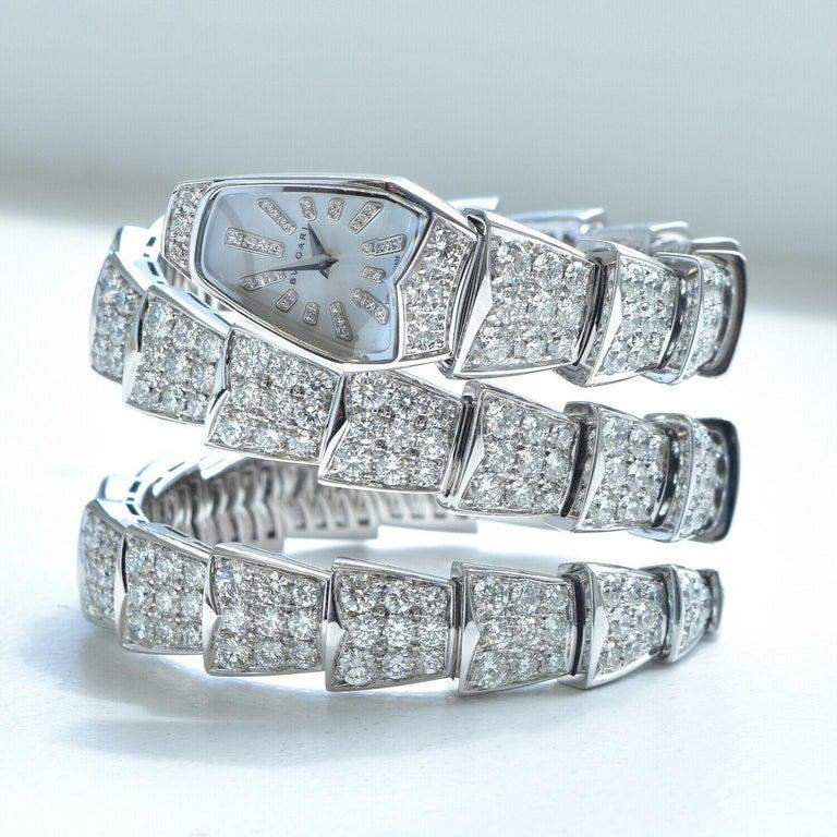 Women's or Men's Bulgari Bulgari Serpenti Jewelry Scaglie in White Gold Watch For Sale