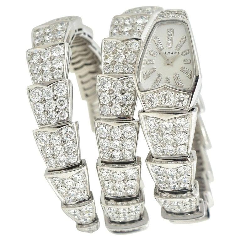 Bulgari Bulgari Serpenti Jewelry Scaglie in White Gold Watch For Sale