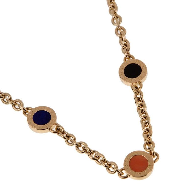 Bulgari Bulgari Vintage Lapis Coral Onyx Gold Necklace  Length: 15