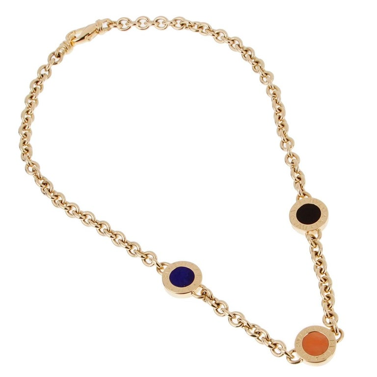 Bulgari Bulgari Vintage Lapis Coral Onyx Gold Necklace In Excellent Condition For Sale In Feasterville, PA