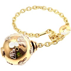 Bulgari Butterfly Globe Yellow and White Gold Keychain