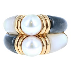 Bulgari Bvlgari 18 Karat Gold, Pearl, Hematite and MOP Double Band Ring 11.9g