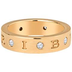 "Bulgari ""Bvlgari"" 18kt Rose Gold Ring with 0.28 Carat in Diamonds, Box Included"