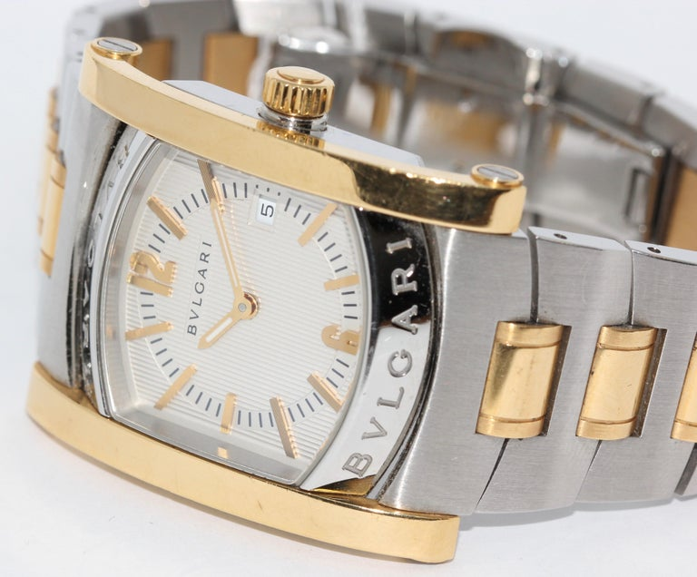 Bulgari Bvlgari Assioma Ladies Wrist Watch Steel and 18 Karat Gold. Ref. AA39SG.  Quartz movement.  Including original box and papers.  The watch receives a new battery change before shipping.