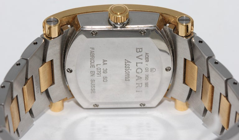 Bulgari Bvlgari Assioma Ladies Wristwatch Steel and 18 Karat Gold, Ref. AA39SG In Fair Condition For Sale In Berlin, DE