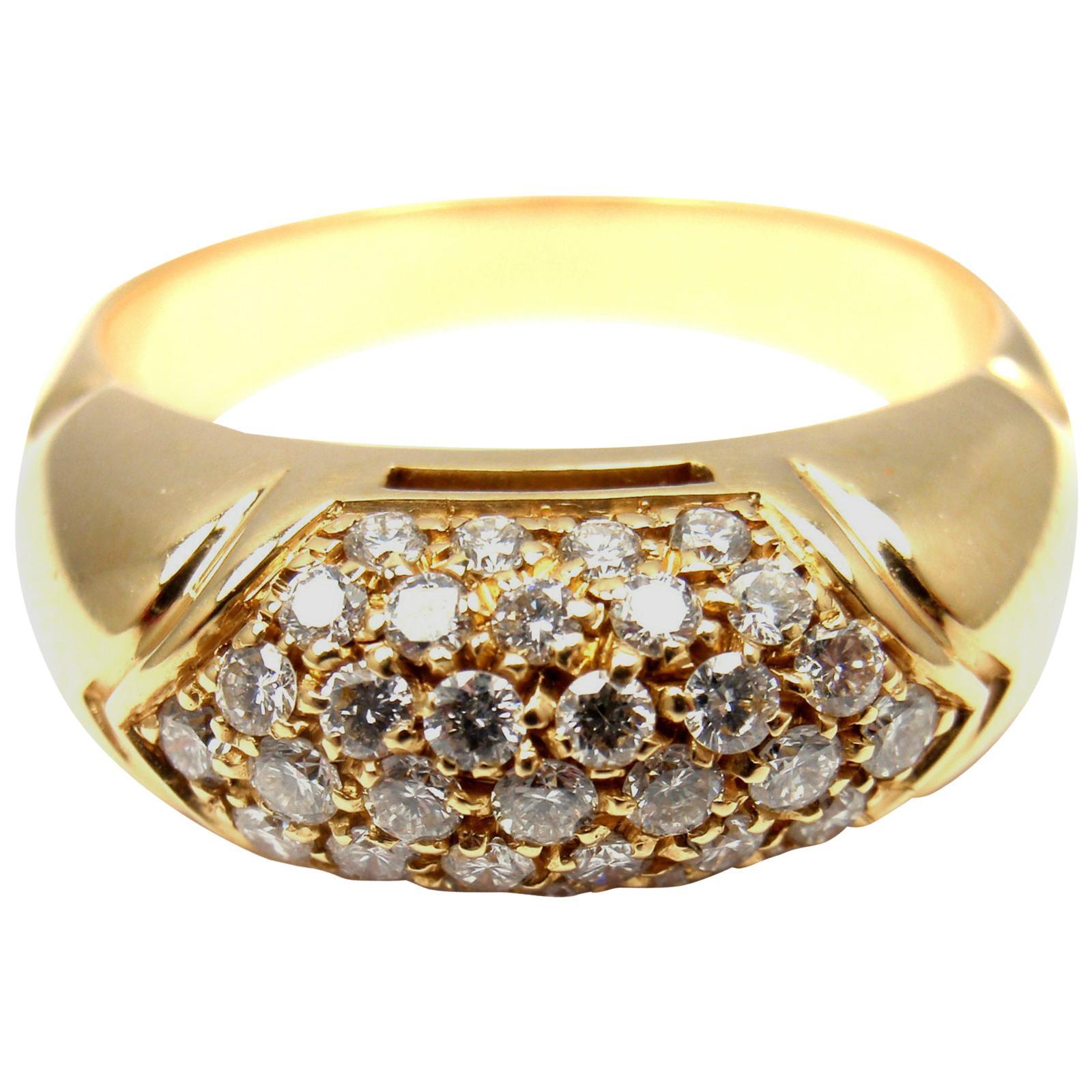 Bulgari Bvlgari Diamond Yellow Gold Band Ring