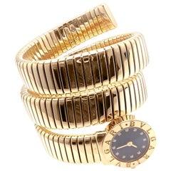 Bulgari Bvlgari Diamond Yellow Gold Tubogas Serpent Snake Bracelet Wristwatch