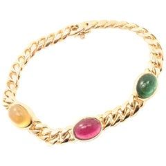 Bulgari Bvlgari Emerald Ruby Yellow Sapphire Yellow Gold Link Bracelet