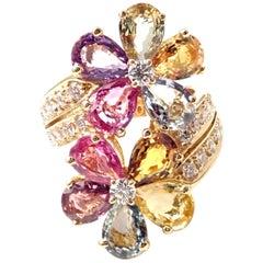 Bulgari Bvlgari Fancy Color Sapphire Diamond Gold Flower Cocktail Ring