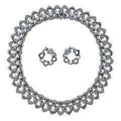 Bulgari Bvlgari Gold Diamond Necklace Earrings Suite