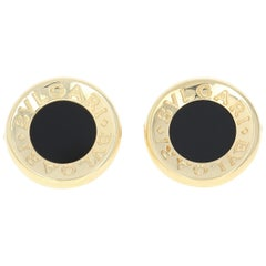 Bulgari Bvlgari Onyx Cufflinks, 18 Karat Yellow Gold Men's Italian Designer Gift
