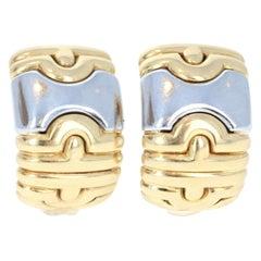 Bulgari Bvlgari Parentesi 18 Karat Yellow Gold Huggie Hoop Earrings 17.3g