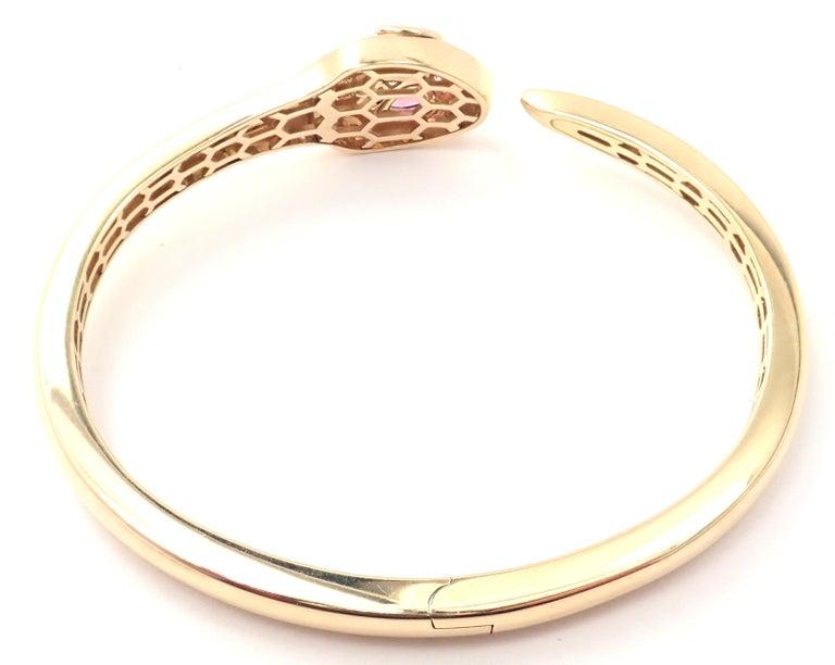 Bulgari Bvlgari Serpenti Snake Diamond Rubellite Yellow Gold Bangle Bracelet In Excellent Condition For Sale In Holland, PA